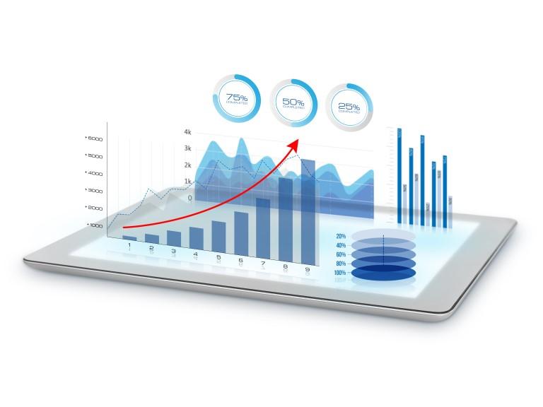 Tablet mit Diagrammen und Trend