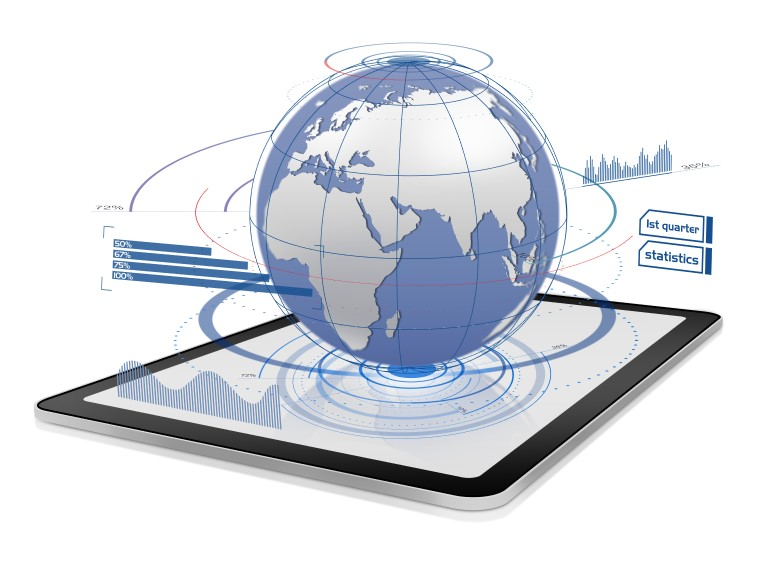 Tablet mit Globus