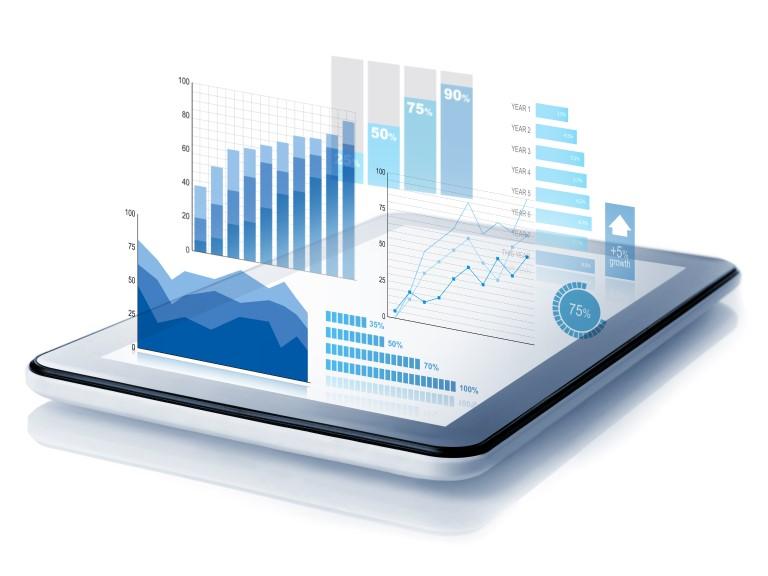 Tablet mit Diagrammen